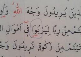 Kako se čita ova riječ u suri Er-Rum, 39 ajet?